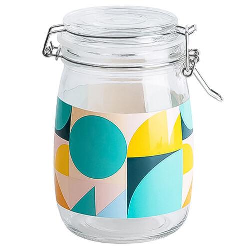 1000ml Glass Storage Jars Round Food Storage w// Airtight Metal Clamp Clip Lid UK