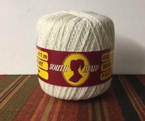 South Maid Crochet Thread White 450 Yds 411m Mercerized Cotton Fast