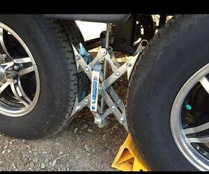 Camper Wheel Chocks >> Tire Locking Chock For Camper Trailer RV Wheels Stopper Stabilizer Blocker Pair | eBay