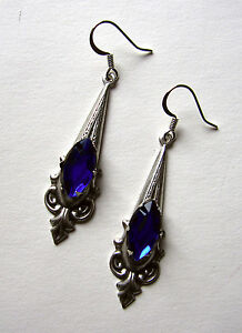 Gothic-VICTORIAN-Filigree-RENAISSANCE-Medieval-Elf-ELVEN-Earrings-Silver