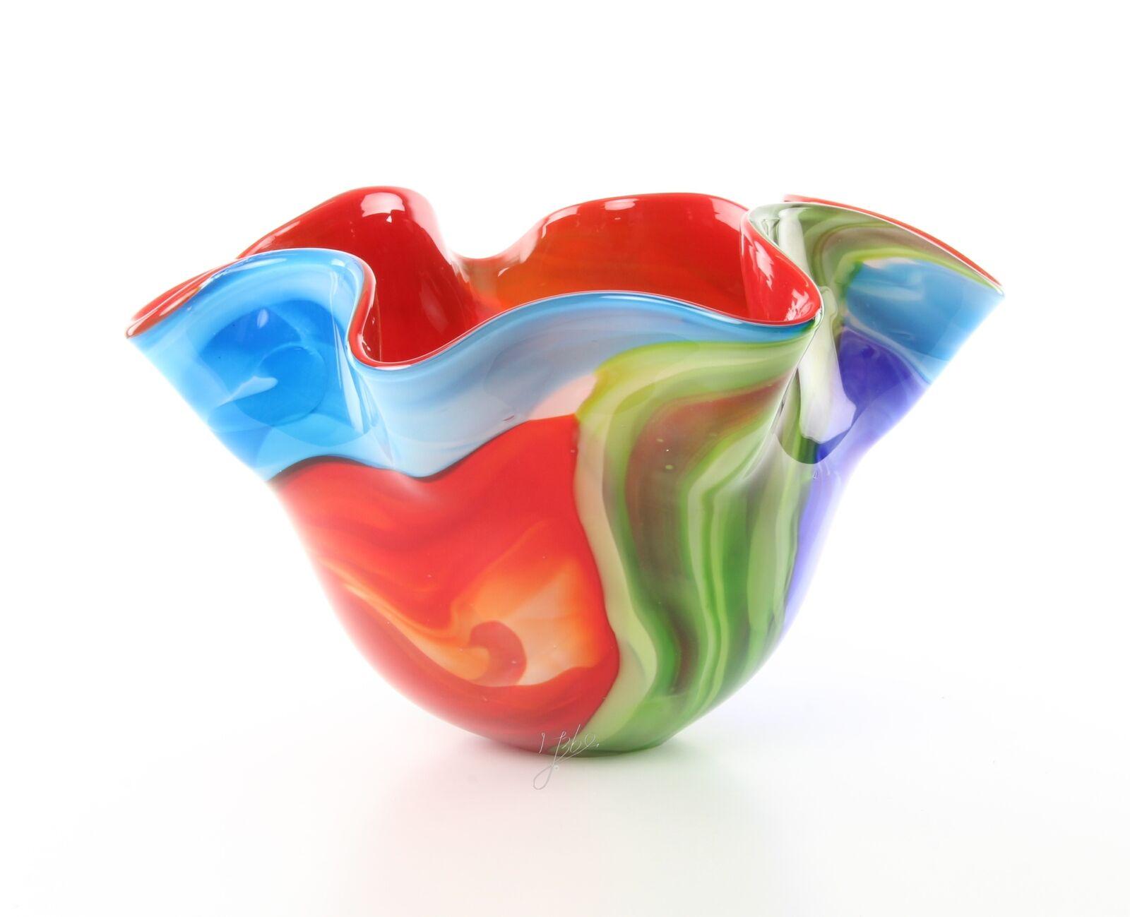 Murano Blaumenvase vase Tischdeko Glasschale 23,5 cm Hoch Bun Echtglas