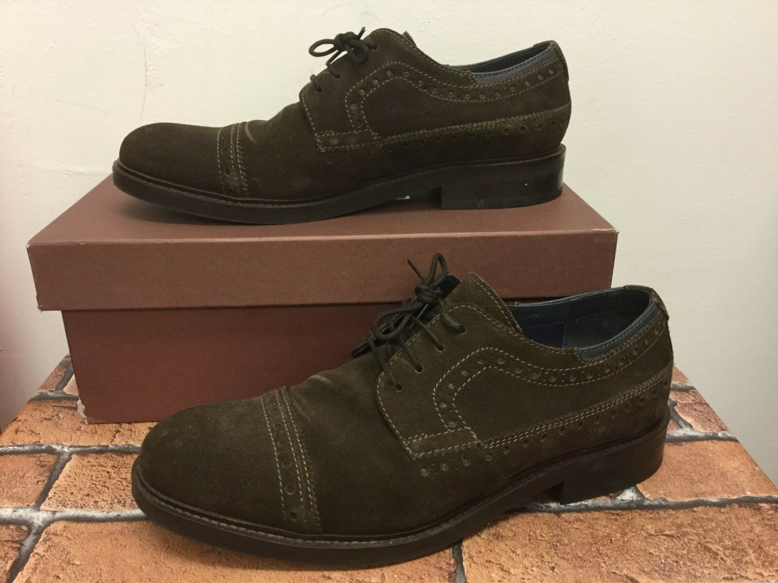 Goodwin Smith men's brogues brown suede lace up size uk 8