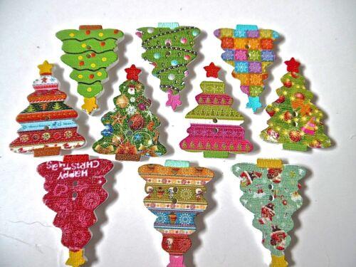10//20//50 Arbre de Noël en bois boutons assortis Patrons Couture Scrapbook