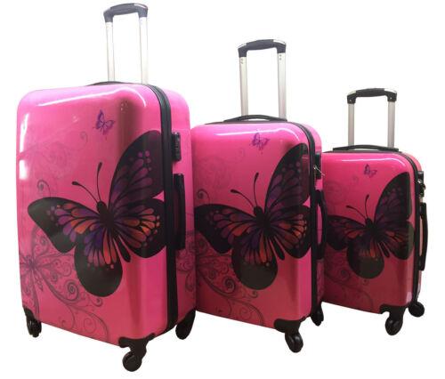 Farfalla Rosa Rigida 4 Ruote Spinner Valigia Bagaglio Trolley Custodia da Cabina