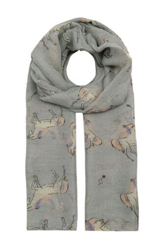 NEW Animal Unicorn Print Fashion Scarf Wrap Chiffon Stole Soft Large Light UK
