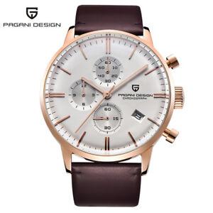 PAGANI-DESIGN-Men-Quartz-Wrist-Watch-Leather-Strap-Chronograph-Display-3ATM-Box
