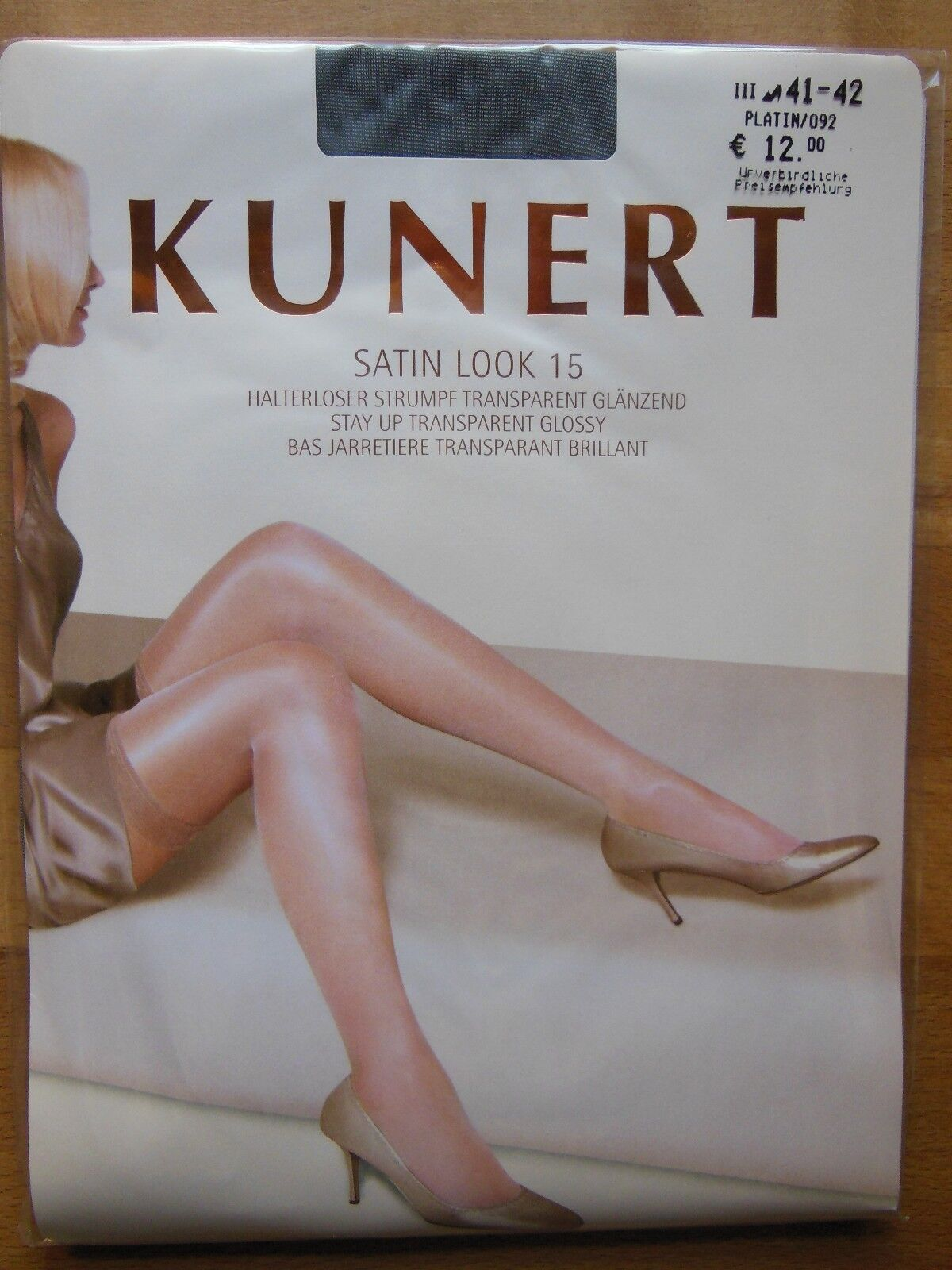 Kunerl satin halterlose bas satin Kunerl look 15 la. brillant taille 35-37 platine 092 b90585