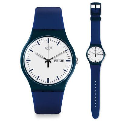 Swatch Bellablu Watch suon709 Analogue Silicone Dark Blue
