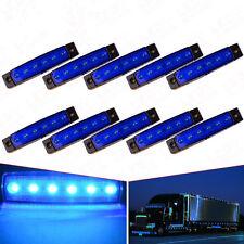 10Pcs 6-LED Super Blue Clearance Side Marker Trailer Light Van Waterproof 3.8in