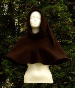 Damen-Herren-Gewandung-Mittelalter-Reenactment-LARP-Gugel-100-Wolle-braun