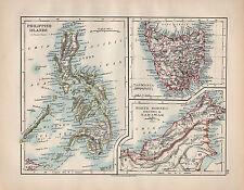 1902 MAP ~ PHILIPPINE ISLANDS ~ TASMANIA NORTH BORNEO BRUNEI & SARAWAK