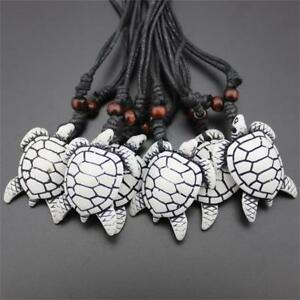 1-Tribal-Imitation-Yak-Bone-White-Brown-Carved-Turtle-Pendant-Necklace-Amulet