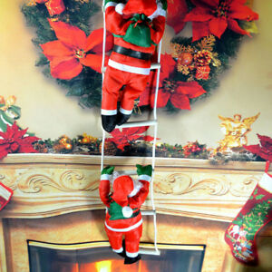Details About 1pcs Climbing Santa With Rope Ladder Outdoor Christmas Decoration