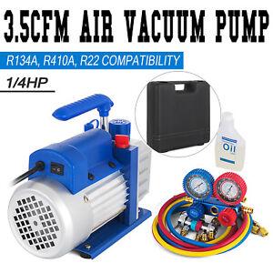 Combo 3 5cfm 1/4hp Air Vacuum Pump HVAC R134a Kit AC A/c Manifold Gauge Set