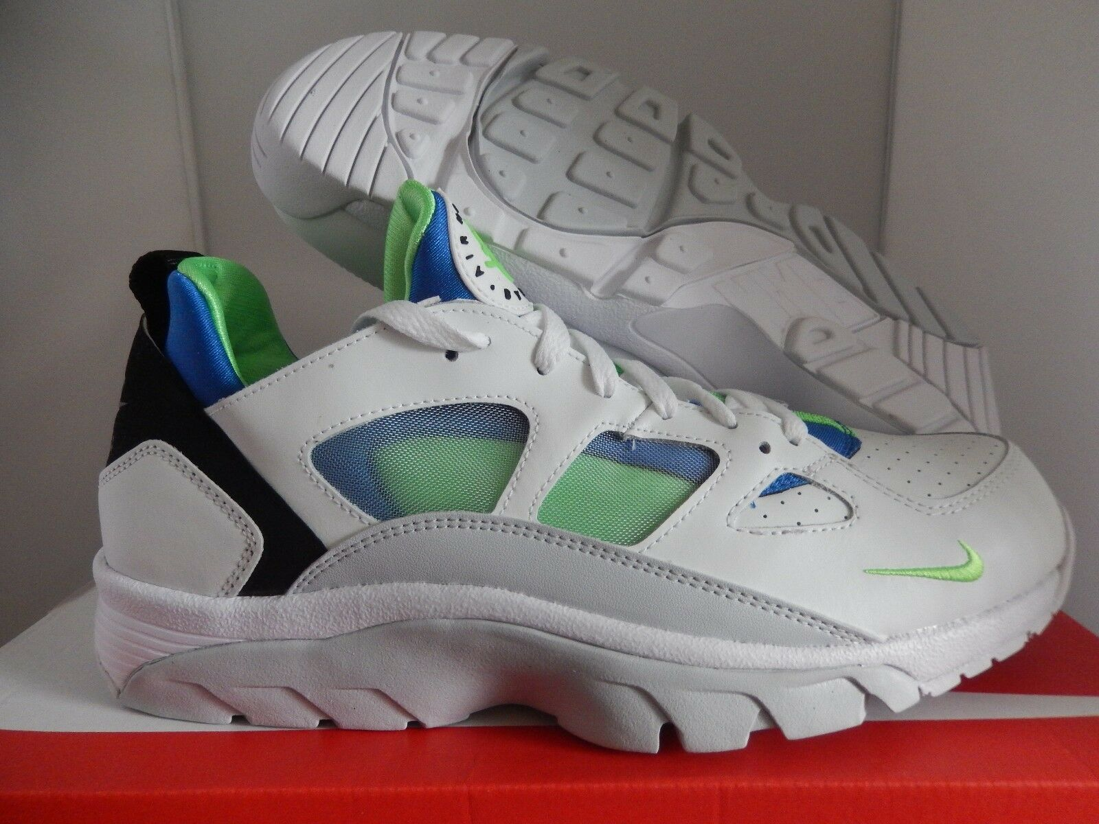 NIKE AIR TRAINER HUARACHE faible blanc-SCREAM GREEN-Bleu SZ 10.5 [749447-101]