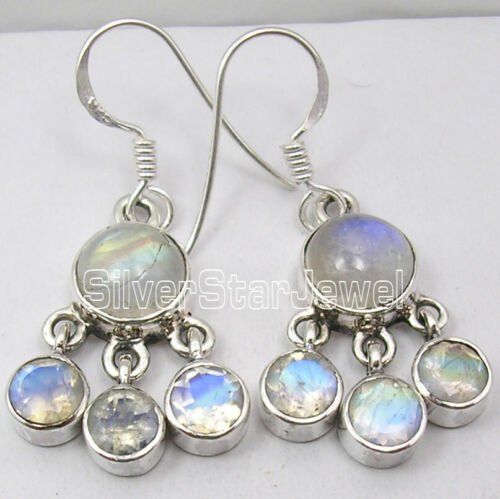925 Solid Sterling Silver Authentic Rainbow Moonstone Dangle Earrings New Art