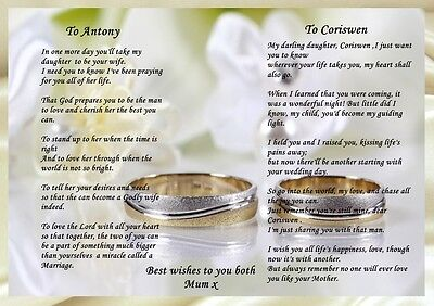 A4 PERSONALISED POEM TO MY DAUGHTER AND HUSBAND TO BE IDEAL FOR FRAMING  MEMENTO | eBay