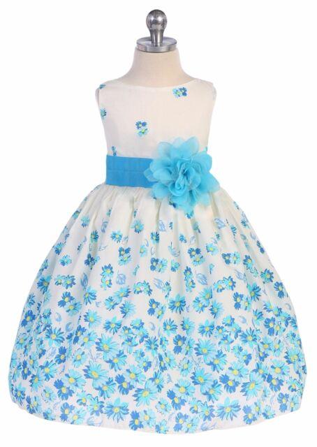 Aqua Blue Daisy Print Cotton Girls Dress Size 2T 4T 5 6 7 8 10 12