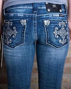 Miss-Me-Sz-27x34-Boot-Cut-Studded-Rhinestone-Jeans-Womens