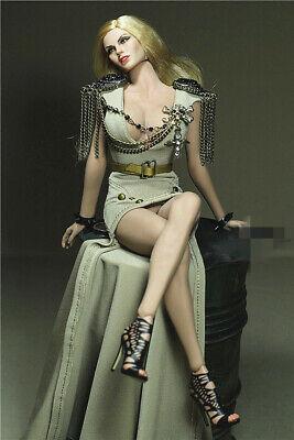 "Hot Custom 1//6 Black Long Double Sleeve Skirt Dress F 12/"" Female Clothing Toys"