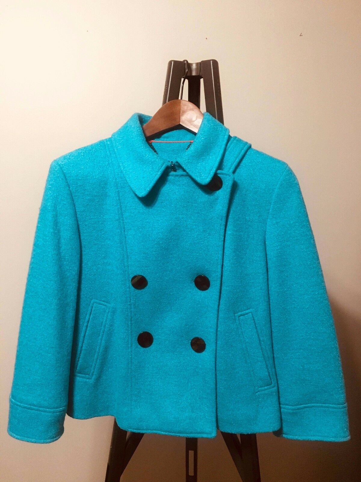 Turquoise Doublebreasted Military Style Short Coat