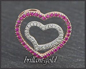 Diamant-Brillant-amp-Rubin-Damen-Anhaenger-aus-585-Gold-mit-0-70-ct-Rosegold-Neu