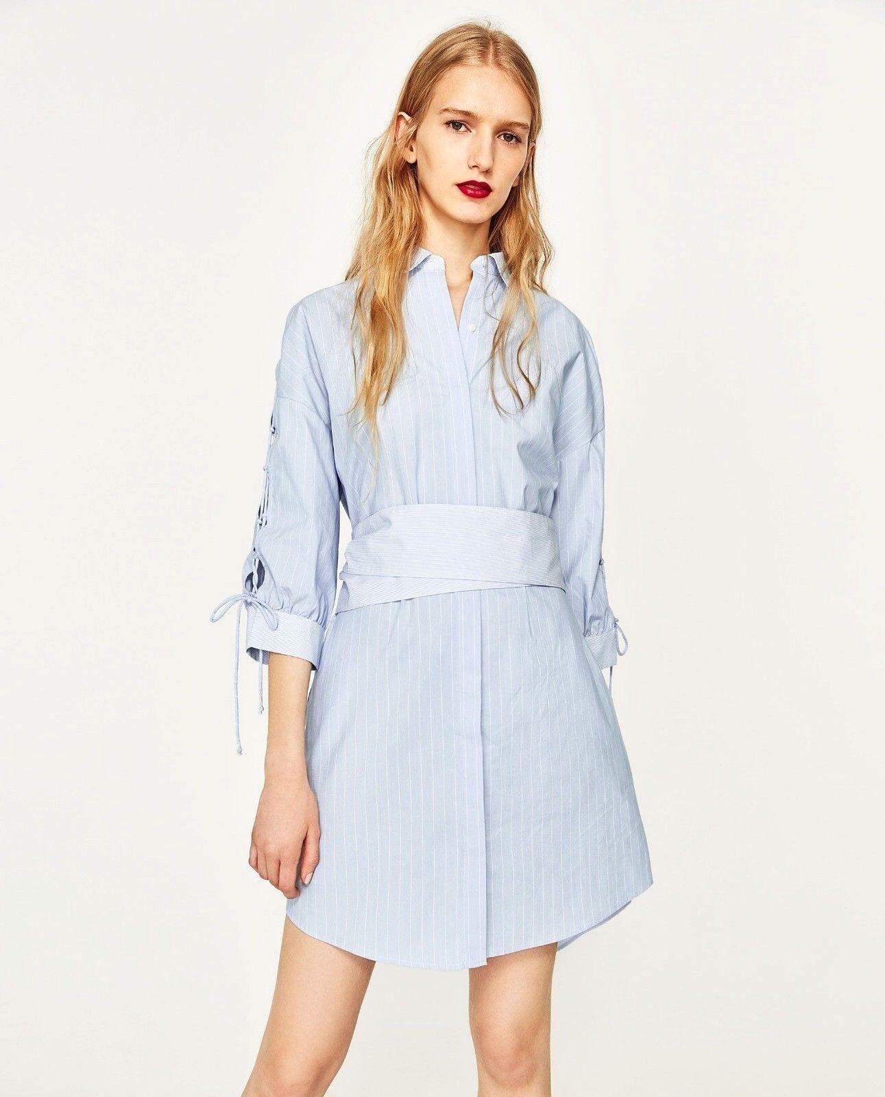 Zara Bleu Ciel Blanc Raye Xl Robe Chemise Avec Ceinture Taille Xl