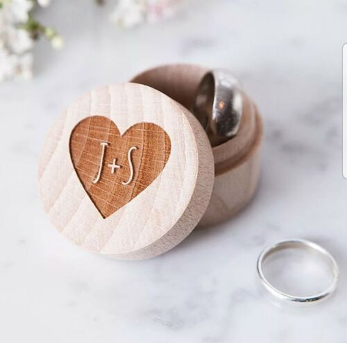Boho Rustic Custom Initials Wooden Ring Box Jewelry Ringbearer Wedding Engraved