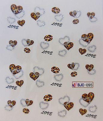 "Valentines Silver Glitter 3D Nail Art Sticker ""Leopard Hearts"" Water Decals 095"