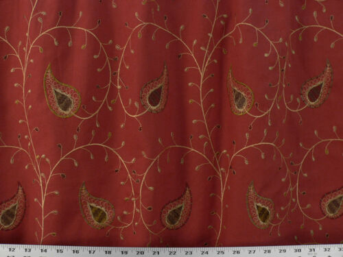Drapery Upholstery Fabric Cotton Duck Embroidered Paisley Leaf Vine - Sangria