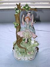 Antique Italian Capodimonte  Artist Signed Boy & Girl on Swing Large Figurine
