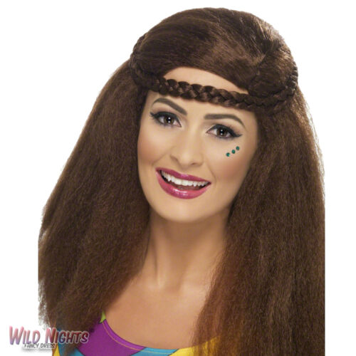 FANCY DRESS WIG # LADIES 1970s 80s HIPPY CHICK LONG BROWN AFRO