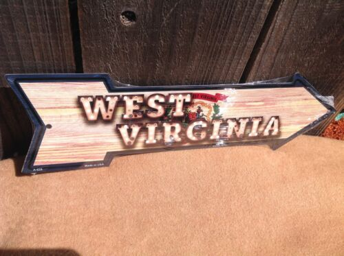 """West Virginia State Flag This Way Arrow Sign Directional Novelty Metal 17/"""" x 5/"""""""