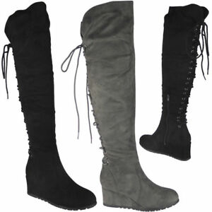 Womens-Ladies-Over-The-Knee-High-Boots-Lace-Up-Mid-Wedge-Heel-Boots-Shoes-Size