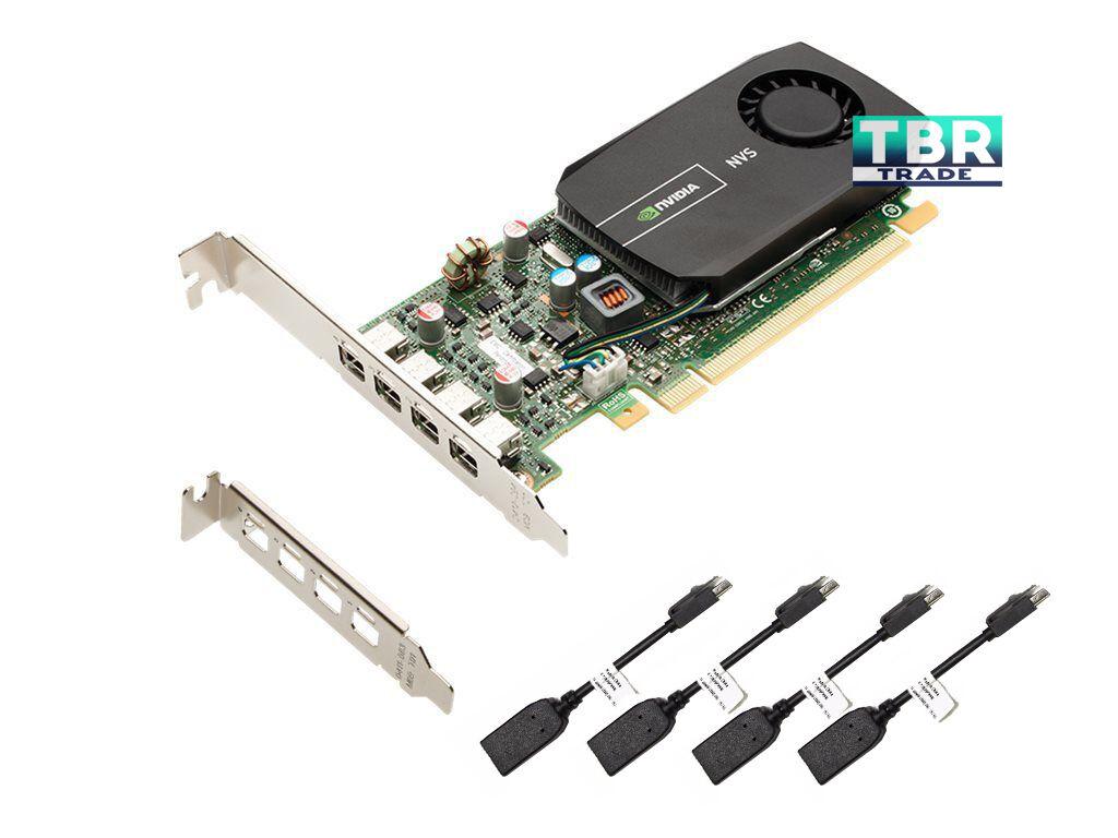 New HP Nvidia NVS 510 2GB DDR3 4 Monitors Support Video Graphics Card C2J98AT