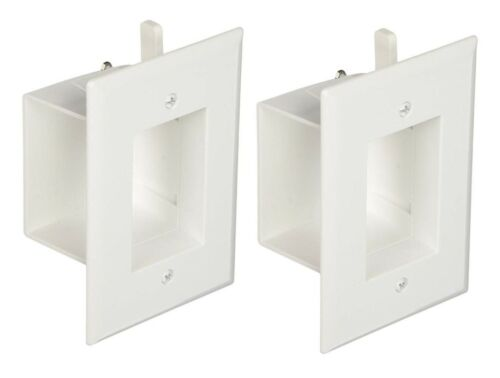 DataComm 45-0008-WH 1-Gang 2 PACK Recessed Low Voltage Wall Cable Plate W...