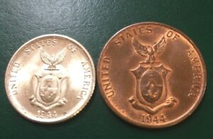 1944 US Minted Philippines Coins-two-1944s One Centavo & 1944d Twenty Centavo