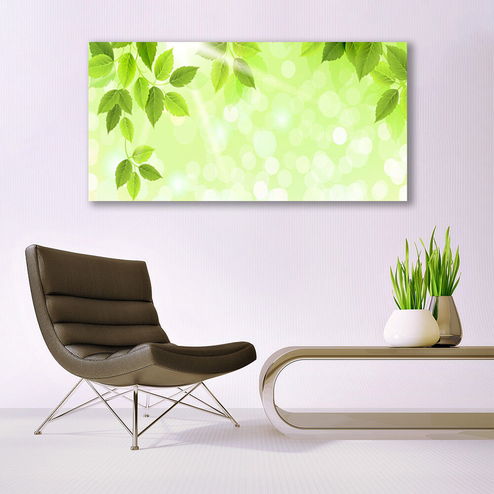Print on Glass Wall art 140x70 Picture Image Image Image Leaves Floral a12636