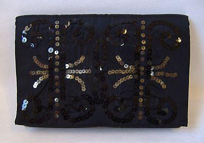 Magid Black Sequin Satin Evening Bag Envelope Purse Clutch Special Occasion Thin