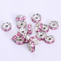 20pcs Plated silver crystal spacer beads Charms Findings 8mm FREE SHIPPING  #24