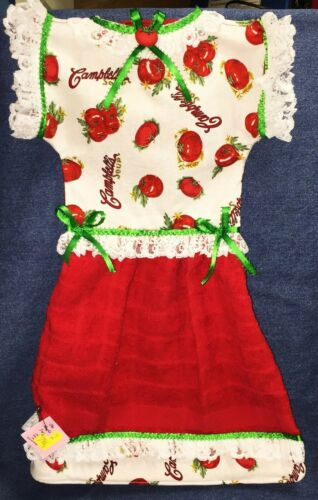 *NEW* Handmade Campbell/'s Tomato Soup on Red Oven Door Dress Kitchen Towel #796