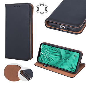 SMART-PRO-ECHT-LEDER-Buch-Handytasche-Premium-Case-Elegant-Huelle-Cover-ver-Handy