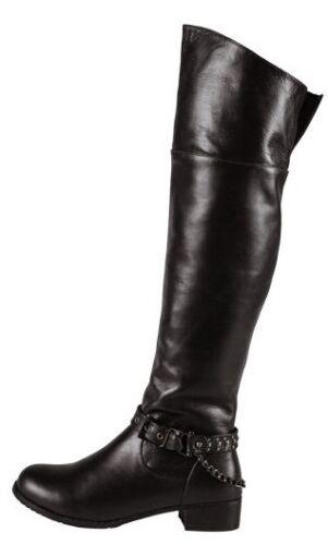 fibbia 100 gli Fashion pelle Ting sopra nero stivali dettaglio con ginocchio al nxg1XPqdw