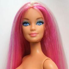 Barbie Doll Hairtastic Blonde Pink streak Belly Button model Straight legs Nude