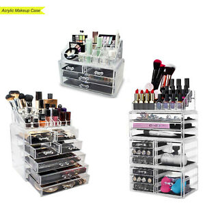 Acrylic-Makeup-Case-Cosmetic-Jewelry-Organizer-Containers-Box-W-Multi-Drawers