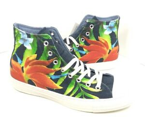 timeless design 3cb3d c016b Image is loading NEW-Converse-CTAS-Hi-Dark-Denim-Floral-Shoes-