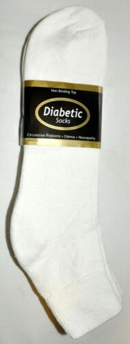 Diabetic White Ankle Socks 3 Pair Big Men/'s Size 13-15 Made In The USA!!
