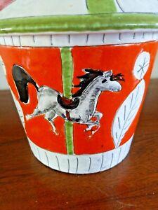 Italian-Vintage-Modern-Carousel-Cookie-Jar-Italy-great-colors-Mod