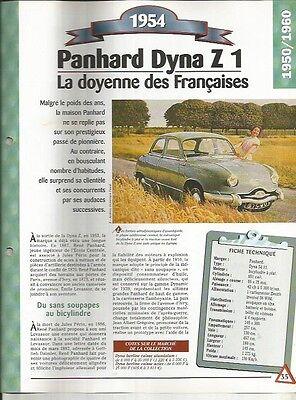 Capace Voiture Panhard Dyna Z 1 Fiche Technique Automobile 1954 Collection Car Una Gamma Completa Di Specifiche