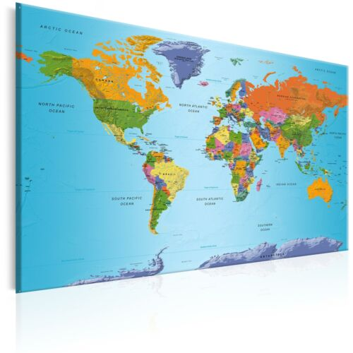 World Map Pinboard Cork Board Canvas Print Wall Art Picture Home k-C-0048-p-b